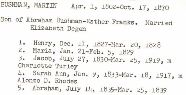 Bushmans in Lancaster, PA, Mennonite Vital Records 1750-2014.1